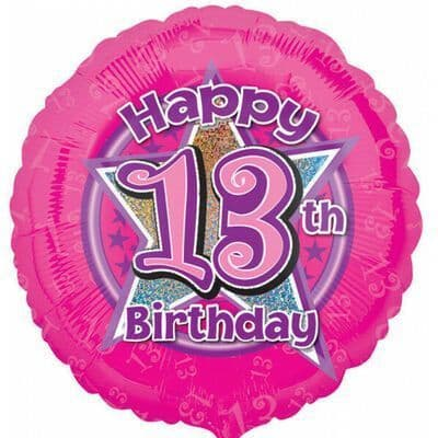 Age 13 Anagram 18 Inch Circle Foil Balloon - Pink Holographic Star